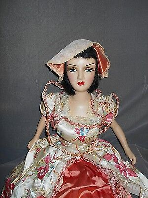 """Boudoir Bed Doll, 31"""", Composition and Cloth, Antique Dress & Doll"""