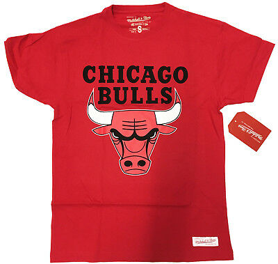 CHICAGO BULLS Logo on RED:MENS T-shirt by Mitchell & Ness:NEW:SMALL