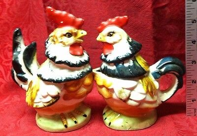 Vintage Relco Japan Rooster / Hen Figural Sugar and Creamer Set