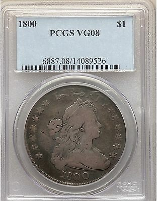 1800 PCGS VG08 Draped Bust Silver Dollar Very Good VG8 Type Coin 12 Arrows