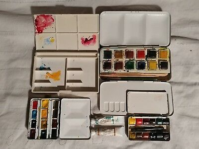 Lot of Vintage Winsor & Newton Watercolor Metal Field Boxes 3 sets