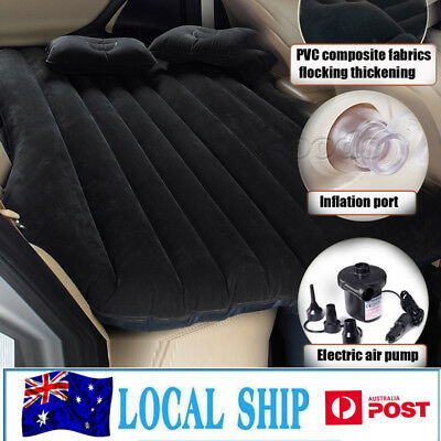 Inflatable Car Bed with 2xPillows & Air Pump for Car Back Seat-Black Camping Bed