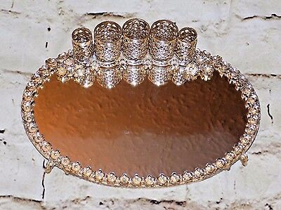 Vintage Goldtone Lipstick Holder Mirrored Footed Tray Vanity Decor Oval Floral