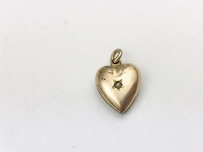 ANTIQUE VICTORIAN 9ct ROSE ROLLED GOLD LOVE HEART PEARL CHARM PENDANT