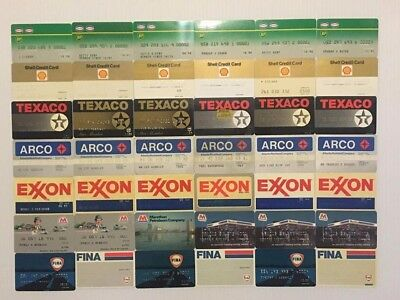 Lot of 42 Vintage Gas Oil Credit Charge Cards Texaco Shell BP Exxon Fina V9