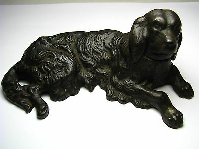 ANTIQUE CAST IRON COCKER SPANIEL DOG FIGURINE PAPERWEIGHT DOORSTOP USA ca1900s