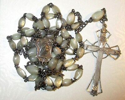 Antique Sterling Silver Rosary With Mother Of Pearl Beads Blessed Virgin Mary