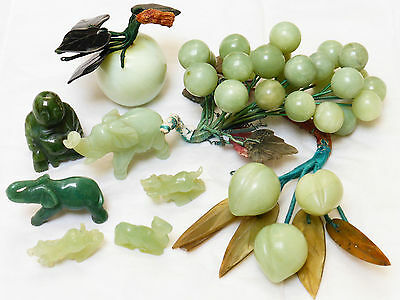 Chinese vintage jade figurines and grapes, LOT OF 9