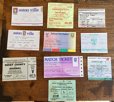 Arsenal 10 different x away tickets from 70's-2000's including semi-final