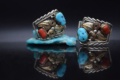 Navajo Native American Sterling Silver & 12K Gold Fill  Pawn Watch Tips