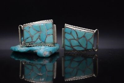 Navajo Native American Sterling Silver Inlay Turquoise Pawn Watch Tips