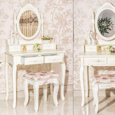 Luxury Bedroom Dressing Table Mirror Jewellery Cabinet Makeup Storage With Stool