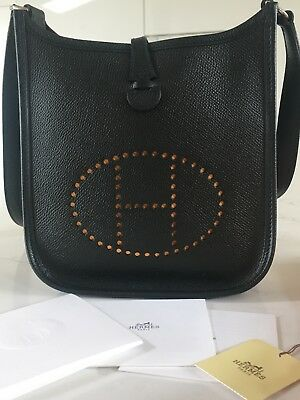 Auth HERMES Evelyne TPM Shoulder Bag Black Leather  *LOOKS NEW*
