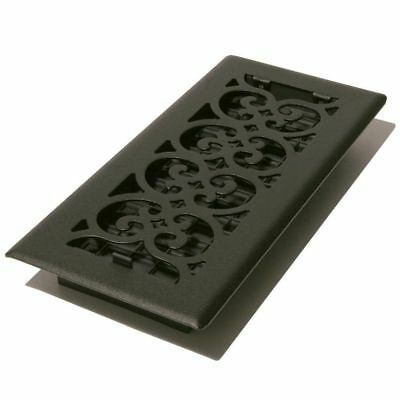Decor-Grates-Steel-Floor-Register-Air-Vent-Scroll-Textured-Black 4 x 10 x12 x14.