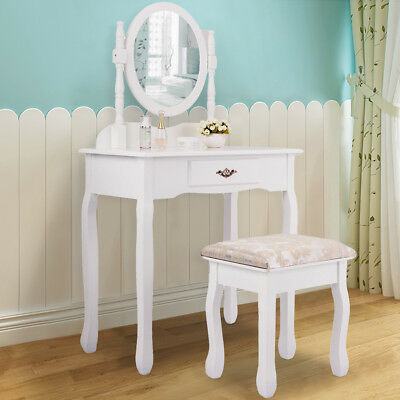 Vanity Wood Makeup Dressing Table Stool & Mirror Set White Finish