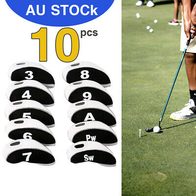 10 x GOLF IRON HEAD COVERS with 3-9 PW SW A Numbers Side & Display Window Cover