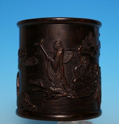 Rare Old Chinese Hand Carving glaze Bamboo Brush Pot Mark DaMoDuJiang US302