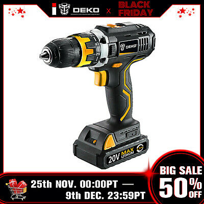 "DEKO 18V LXT Lithium-Ion Battery 1/2"" Cordless Hammer Drill Driver Power Tool"