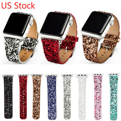 Christmas Shiny Bling Leather Wrist Band Strap for Apple Watch Series 3 2 1st US