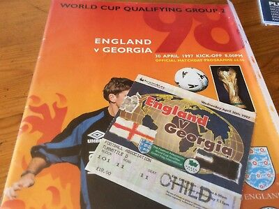 England v Georgia 1997 programme / ticket