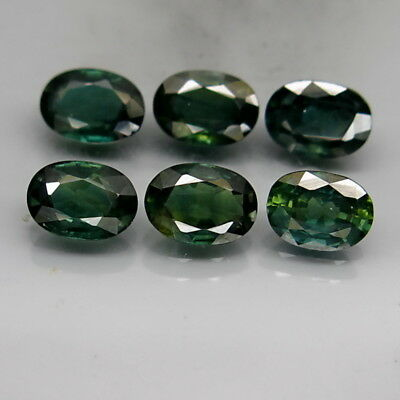 Oval 6.5x5-7x5mm.Heated Only! Blue Green Sapphire Africa 6Pcs/5.53Ct.