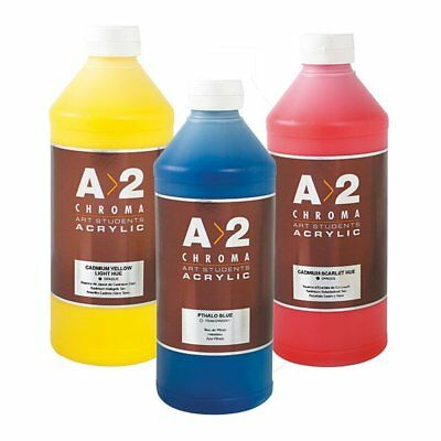 Chroma A2 Student Acryic Paints 1L Acrylics - Blue Red Yellow Grey