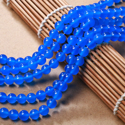 "8mm Natural Blue Jadeite Jade Round Gemstone Loose Beads 15"" AAA"