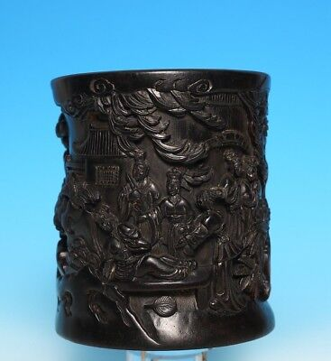 Rare Old Chinese Hand Carving glaze Bamboo Brush Pot Marked WangJiChang US306 AC