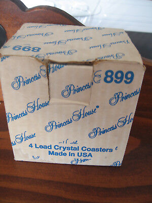Box  Set 4 Princess House  Crystal Coasters Bnib 899