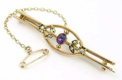 Ladies 9Carat 9Ct Gold Amethyst And Pearl Brooch With Safety Chain – 2.38 Grams