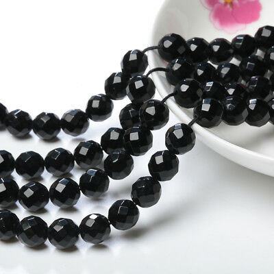 10mm Natural Faceted Black Agate Onyx Round Gemstone Loose Beads 15'' Strand DIY