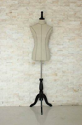 "New Female Mannequin Dress Form ""34""26""35"" cream Color on Black Tripod Stand ..."