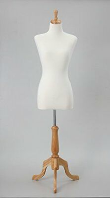 "35"" 25"" 35"" White Female Mannequin Dress Form Fully Pinnable On Natural Tripo..."