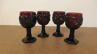 Avon 1876 Cape Cod Ruby Red Set Of 4 Wine Goblets