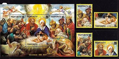 Vanuatu 1982 Christmas Set of 4 + Minisheet MNH