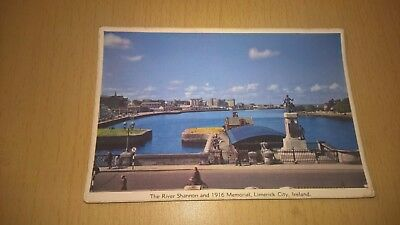 Old Irish Postcard River Shannon & 1916 Memorial Limerick - Co Limerick Ireland