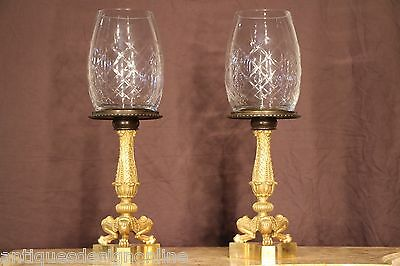 PAIR gilt antique bronze empire banquet lamps storm shades ormolu French Empire
