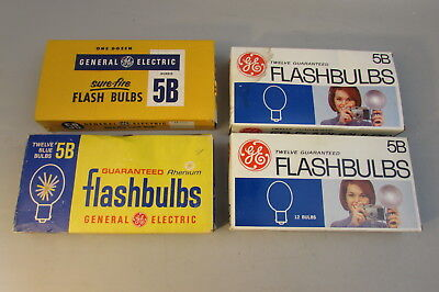 LOT OF 4 BOXES VINTAGE GENERAL ELECTRIC GE #5B FLASH BULBS total 48 Bulbs