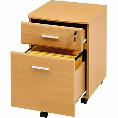 Filing Cabinet Pedestal Drawer Stationary Office Desk Storage PC Lockable Beech