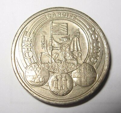 cardiff one pound coin rare capital city coin, circulated