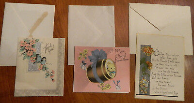 Lot of 3 Vintage Deco Greeting Cards