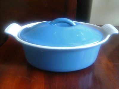 cousances,blue casserole dish,made in france.marked 18