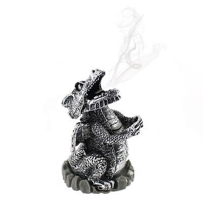 Smoking Silver Dragon Incense Burner !FREE UK P&P! !Free Cones!