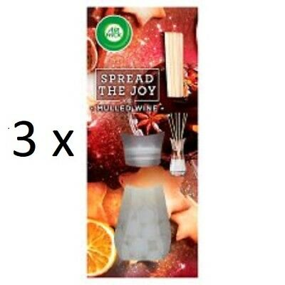Air Wick Reed Diffusers 3 x MULLED WINE - NEW -  Xmas 2017 Spread The Joy Range