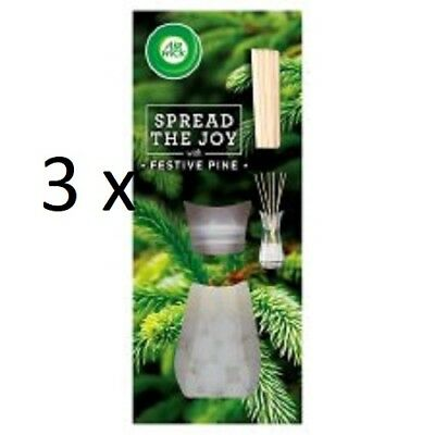 Air Wick Reed Diffusers 3 x FESTIVE PINE - NEW -  Xmas 2017 Spread The Joy Range