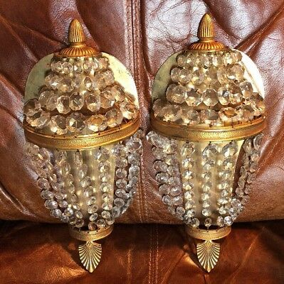 ANTIQUE vIntage GILT CRYSTAL ?French? basket BAG sconce WALL LIGHTS