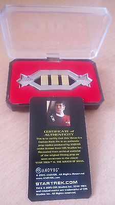 Star Trek Captain Rank Pin Licensed Product from CBS Studios! With Certificate!