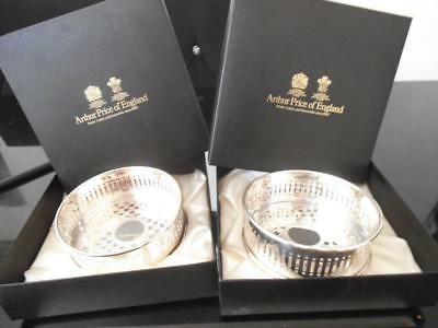 2X Arthur Price Silver Plate Wine Coaster Signed John Chairmans Personal Ltd Edt