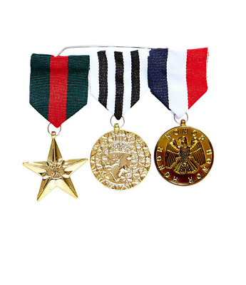 3 x Fake Combat Medals Fancy Dress Military Army Navy RAF Paintball Party Toy