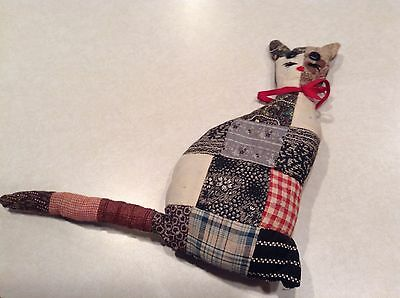Handmade patchwork cat figure/vintage fabric